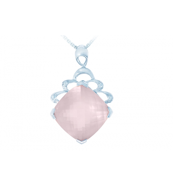steel quartz necklace rose p natural s stainless kisspat chain inches on teardrop pink pendant